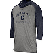 Nike Men's Cleveland Indians Flux Pullover Three-Quarter Sleeve Hoodie