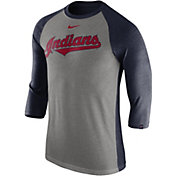 Nike Men's Cleveland Indians Dri-FIT Raglan Three-Quarter Sleeve Shirt