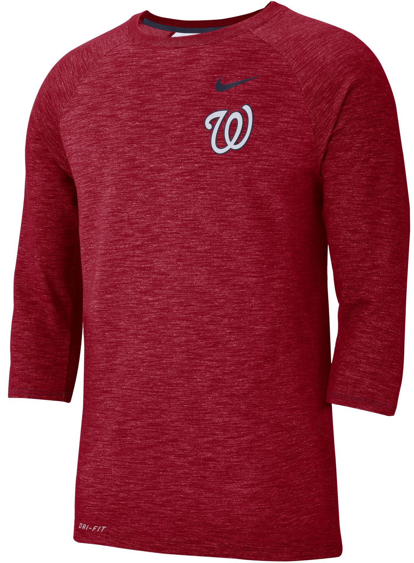 Nike Men's Washington Nationals Dri-FIT Slub Three-Quarter Sleeve Shirt
