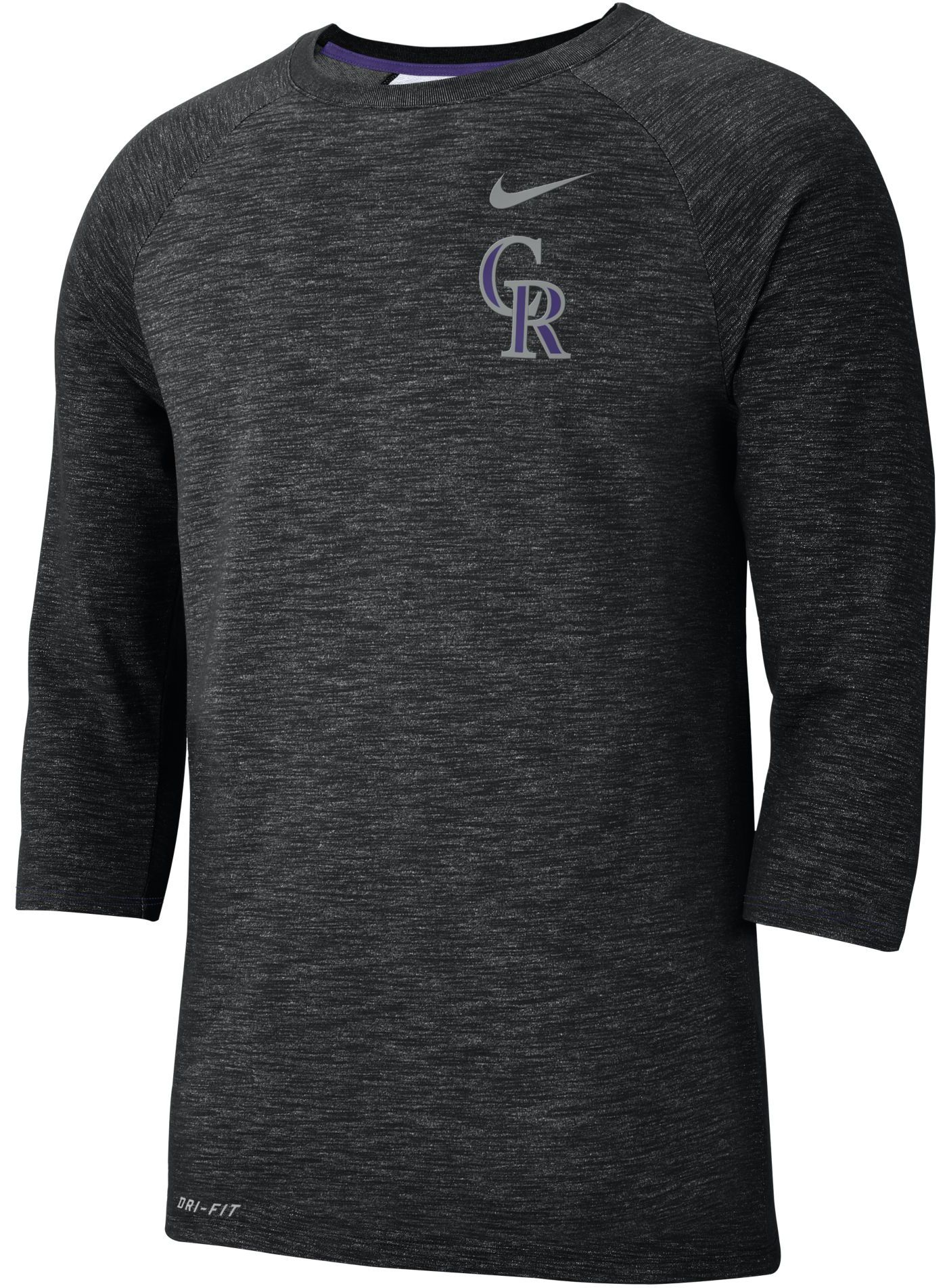 Nike Men's Colorado Rockies Dri-FIT Slub Three-Quarter Sleeve Shirt