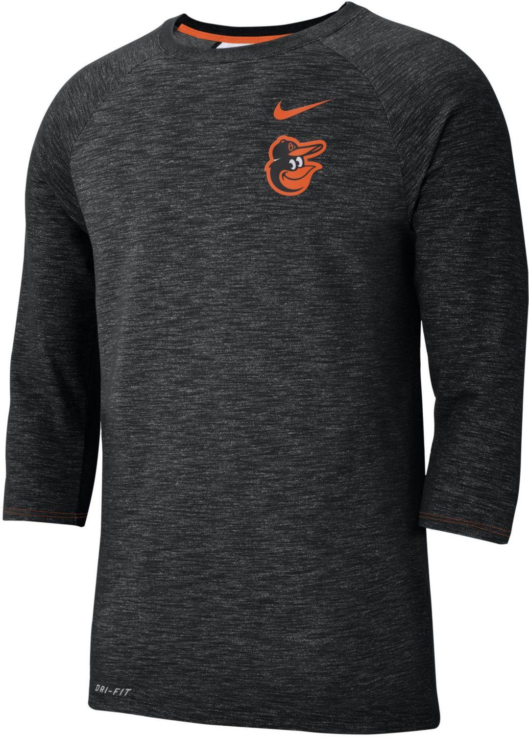hot sale online a7c21 6d66f Nike Men's Baltimore Orioles Dri-FIT Slub Three-Quarter Sleeve Shirt