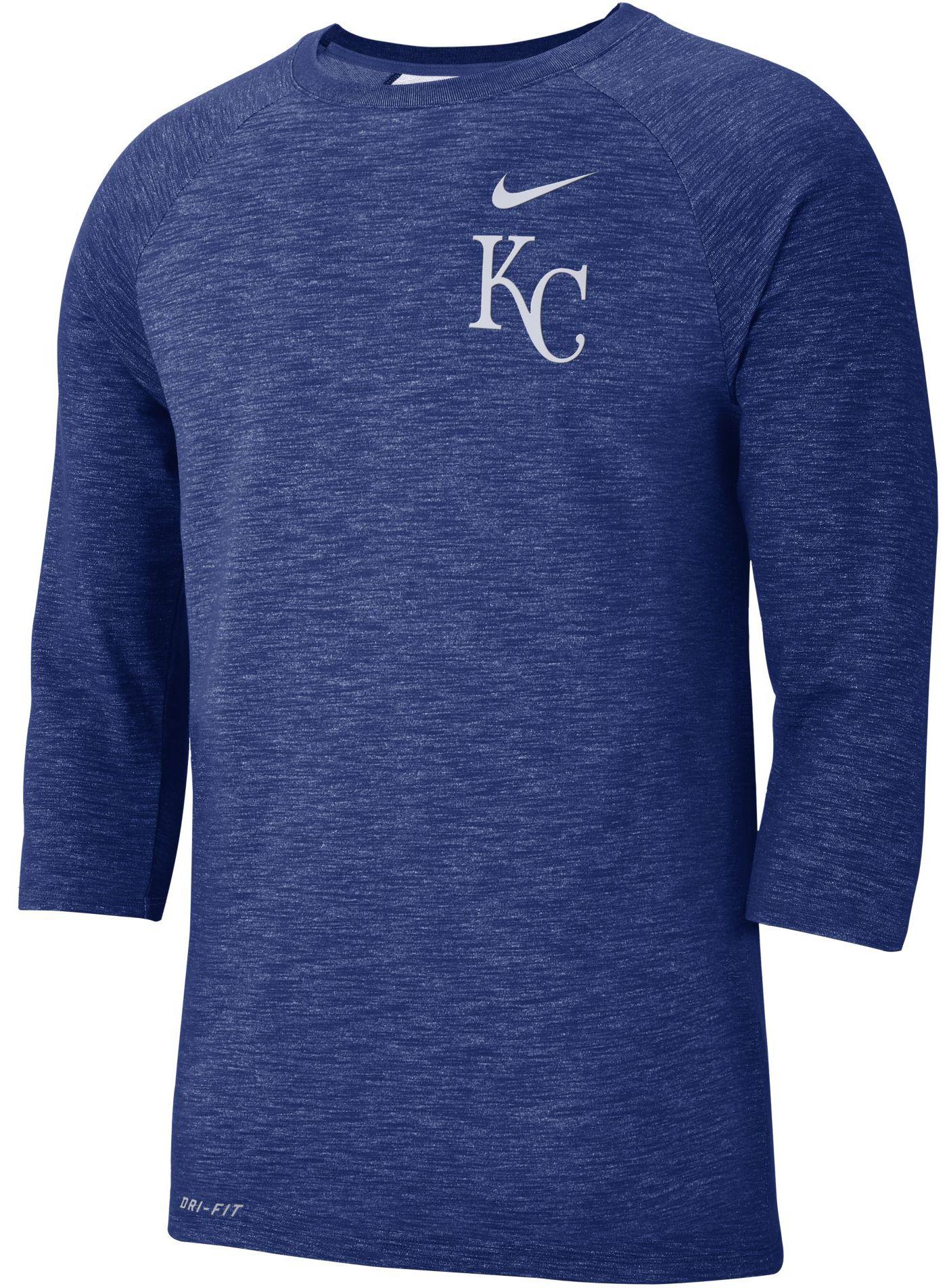 Nike Men's Kansas City Royals Dri-FIT Slub Three-Quarter Sleeve Shirt