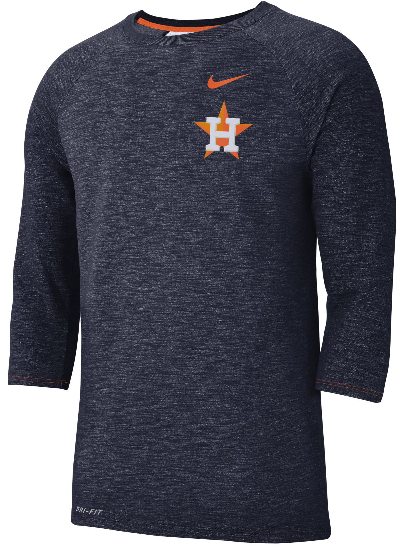 Nike Men's Houston Astros Dri-FIT Slub Three-Quarter Sleeve Shirt