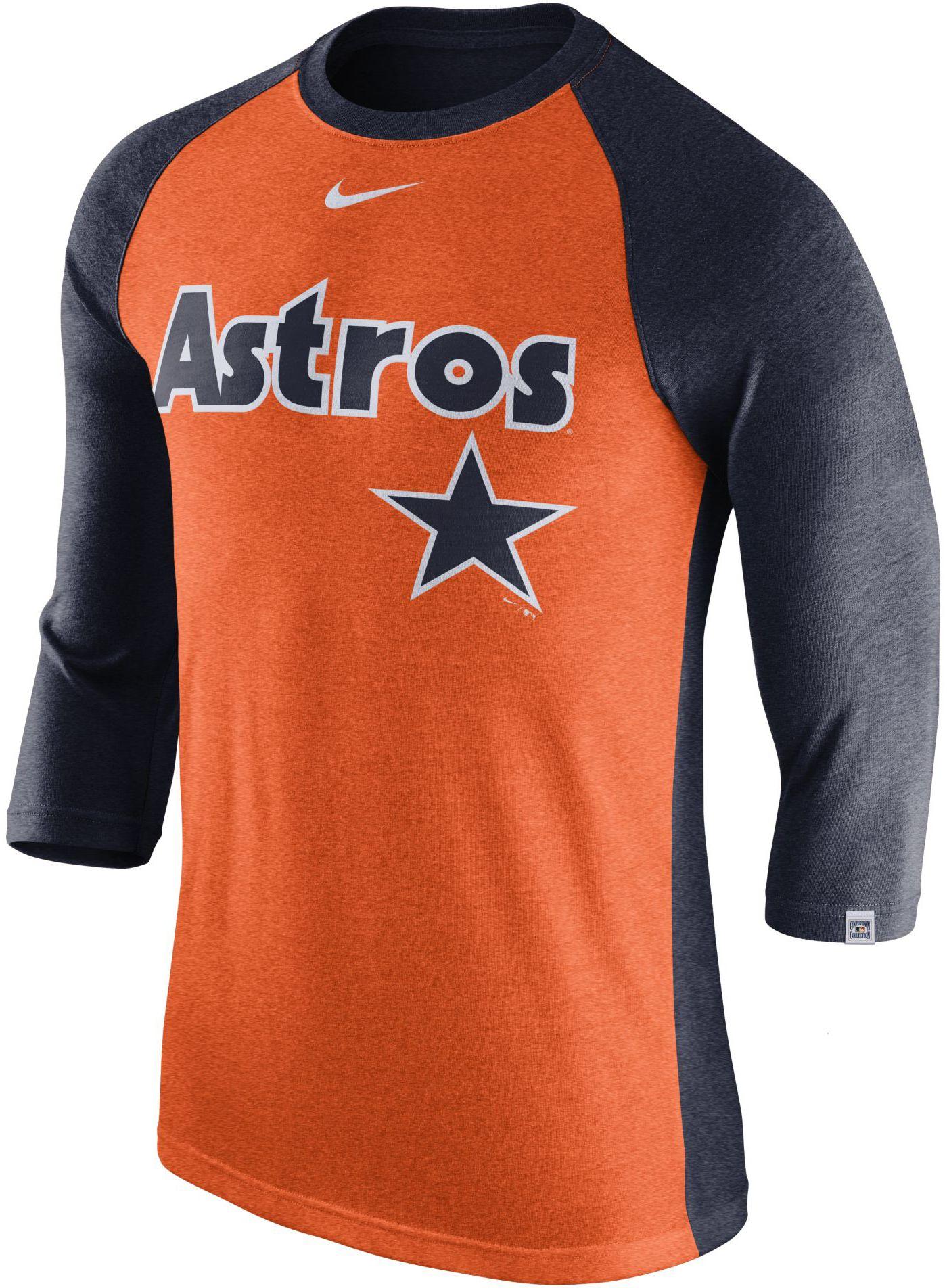 Nike Men's Houston Astros Dri-FIT Raglan Three-Quarter Sleeve Shirt