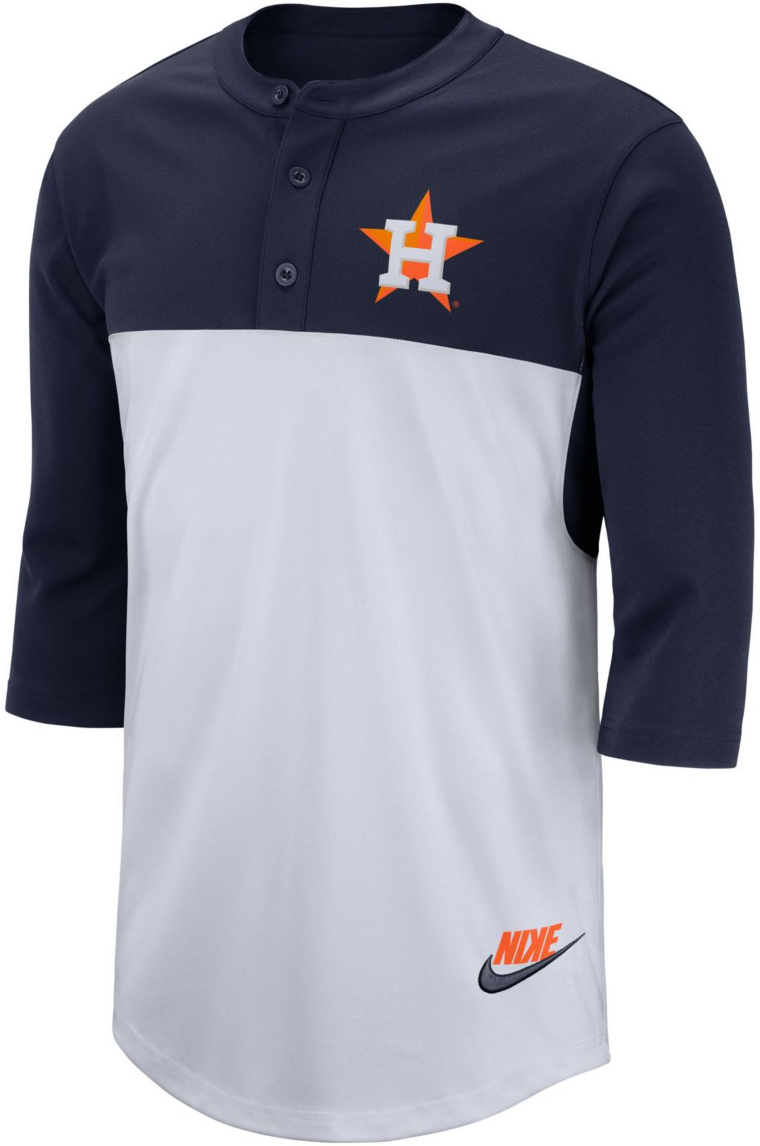 best service 092b3 e299d Nike Men's Houston Astros Dri-FIT Henley Three-Quarter Sleeve Shirt