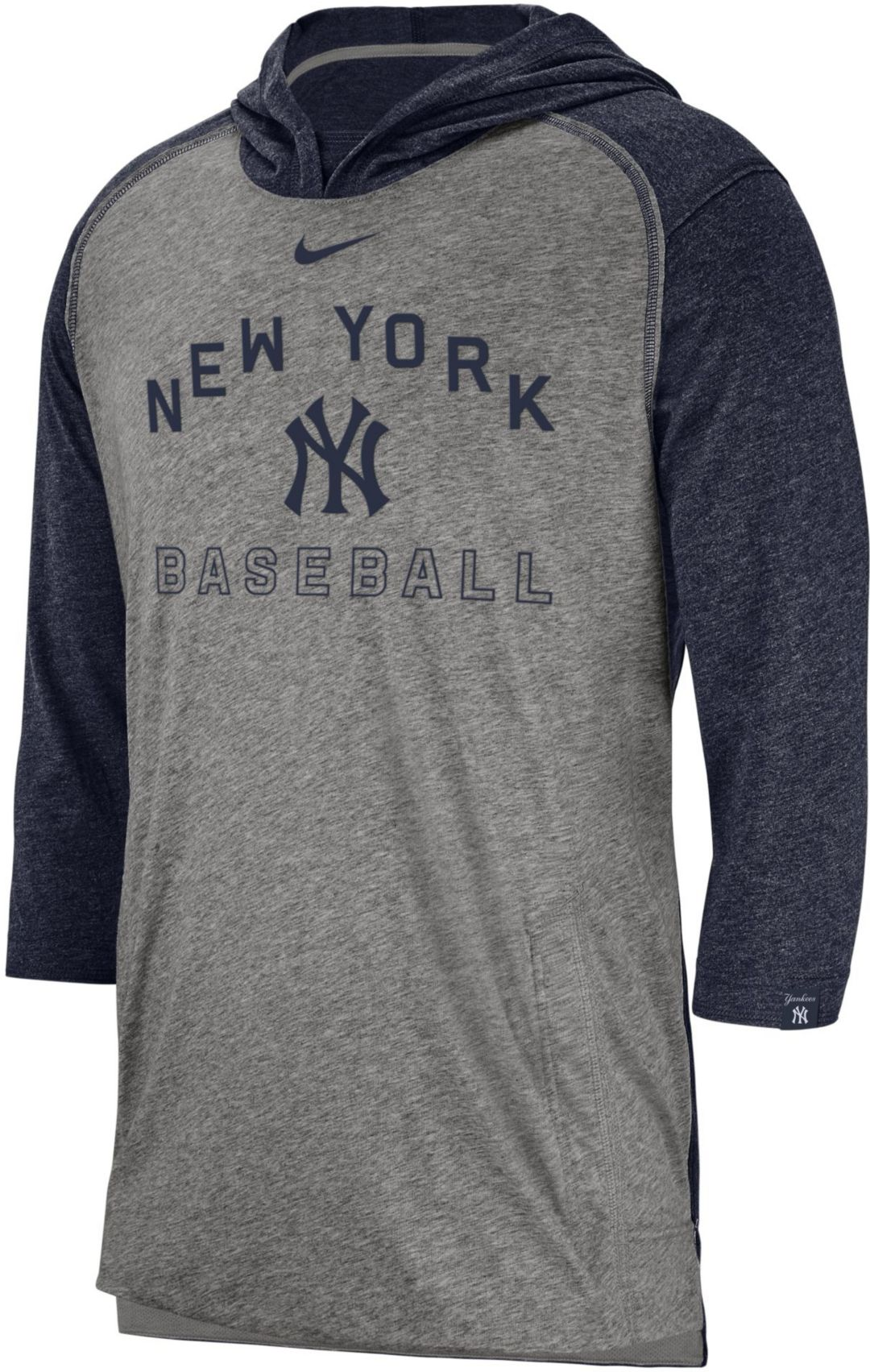hot sale online 06f44 f4c73 Nike Men's New York Yankees Flux Pullover Three-Quarter Sleeve Hoodie