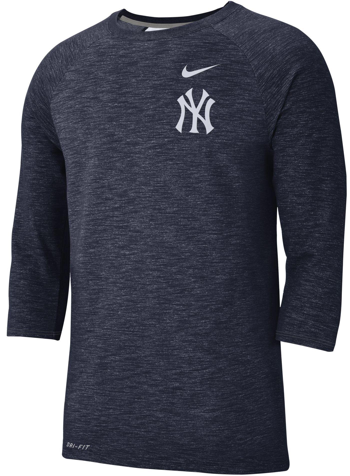 Nike Men's New York Yankees Dri-FIT Slub Three-Quarter Sleeve Shirt