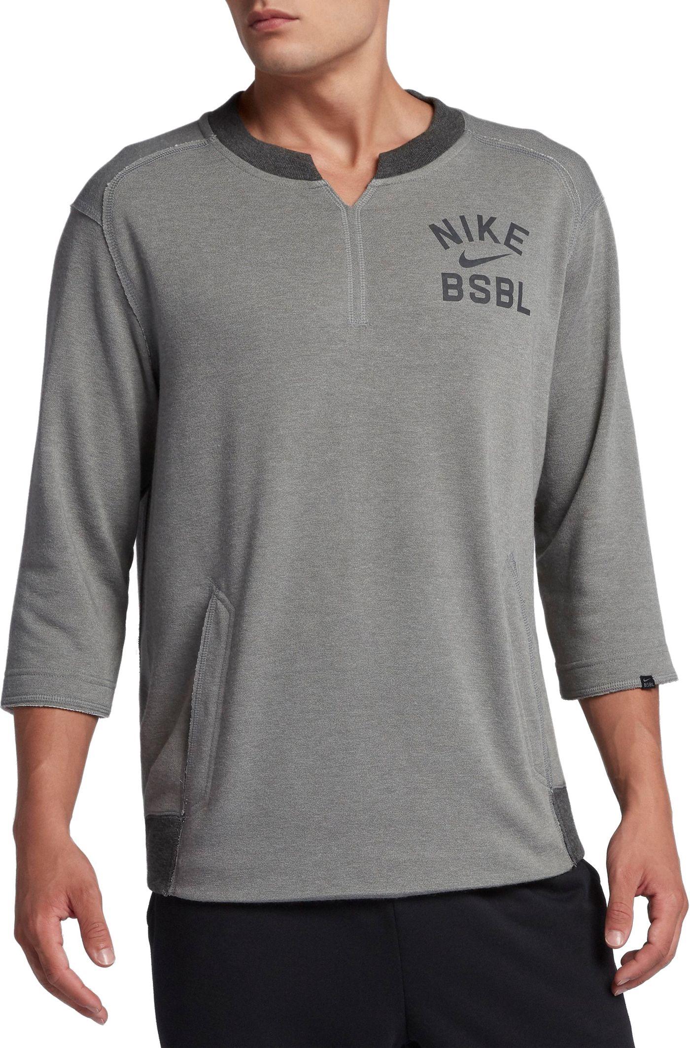 Nike Men's 3/4 Fleece Crew Flux Baseball Shirt