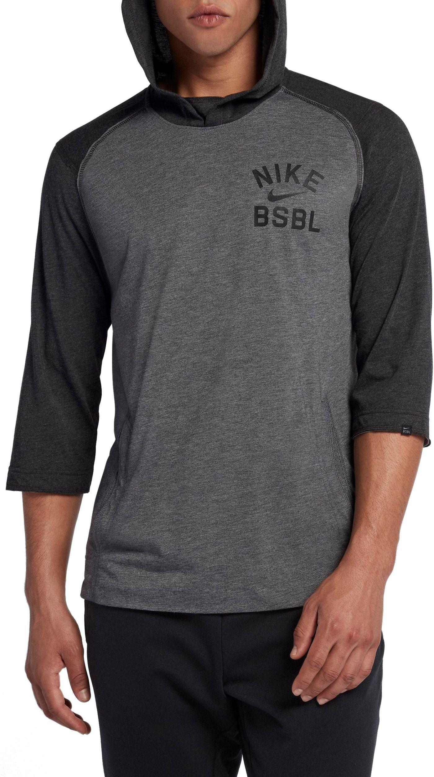 Nike Men's 3/4 Fleece Top Flux Baseball Hoodie