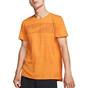 Nike Men's Hyper Dry Graphic Tee in Orange Peel/Htr/White