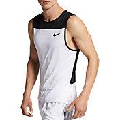 Nike Men's Pro Linear Vision Tank Top in White/Black/Black