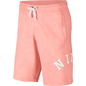 Nike Men's Sportswear French Terry Wash Shorts in Bleached Coral/Summit Wte