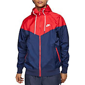Nike Men's Sportswear 2019 Hooded Windrunner Jacket (Regular and Big & Tall) in Mdnght Nvy/Unvrsty Rd/Wte