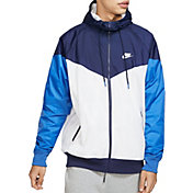 Nike Men's Sportswear 2019 Hooded Windrunner Jacket (Regular and Big & Tall) in Summit Wte/Mdnght Nvy/Wte