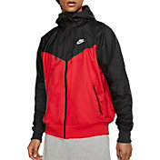 Nike Men's Sportswear 2019 Hooded Windrunner Jacket in University Red/Black/Whte