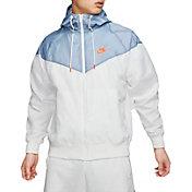 Nike Men's Sportswear 2019 Hooded Windrunner Jacket (Regular and Big & Tall) in White/Indigo Fog
