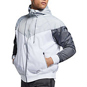 Nike Men's Sportswear 2019 Hooded Windrunner Jacket (Regular and Big & Tall) in Wht/Wlf Gry/Drk Gry/Wht