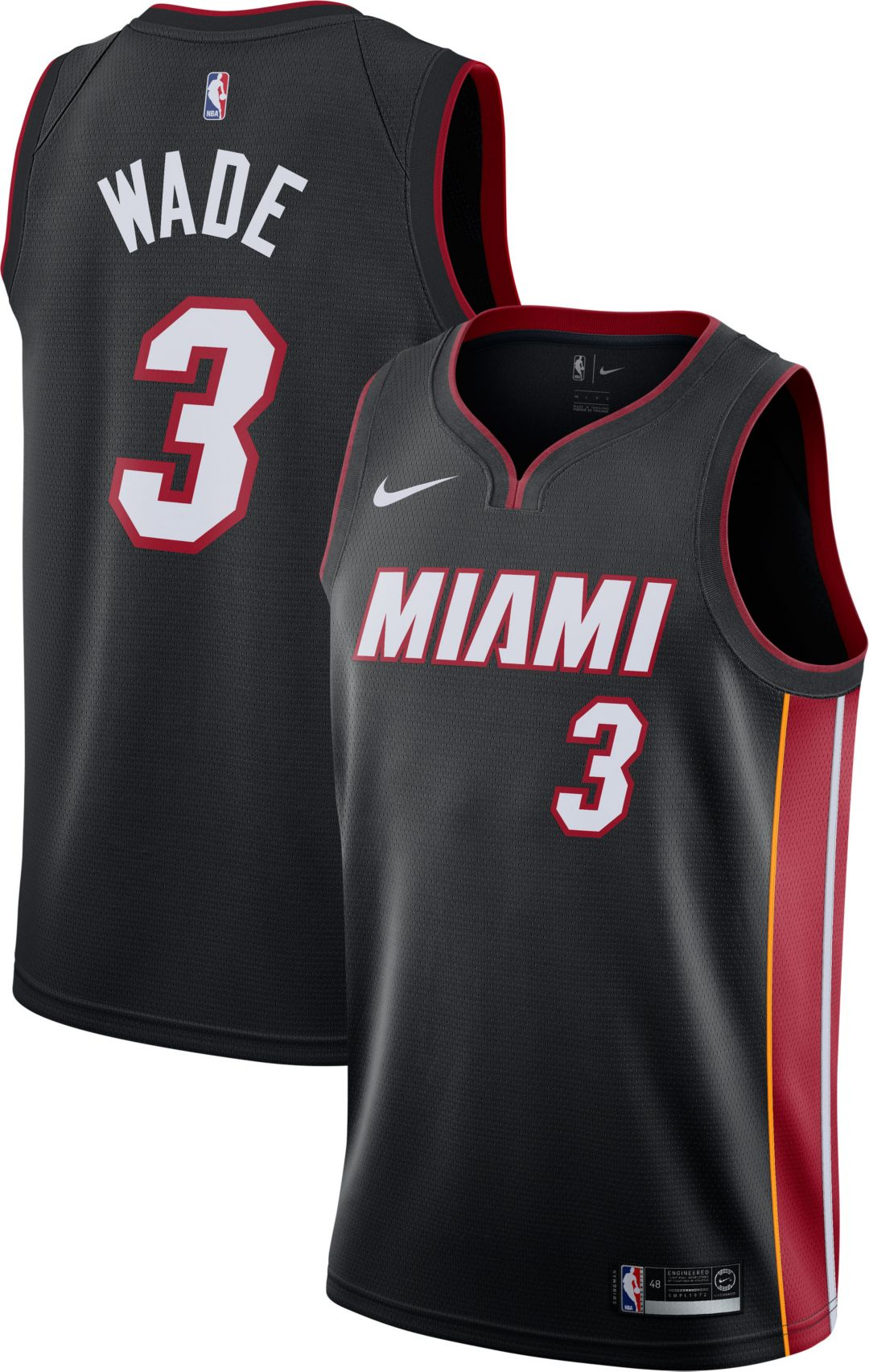 new arrival 3a217 2a051 Nike Men's Miami Heat Dwyane Wade #3 Black Dri-FIT Swingman Jersey