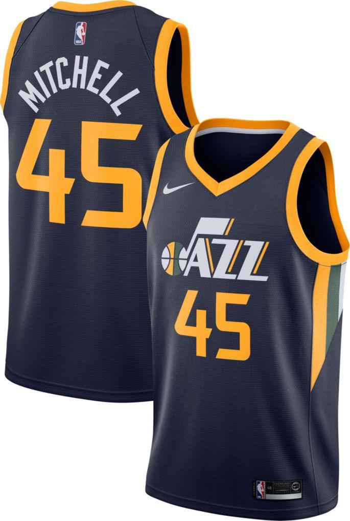 competitive price 6fcfd 8ae33 Nike Men's Utah Jazz Donovan Mitchell #45 Navy Dri-FIT Swingman Jersey
