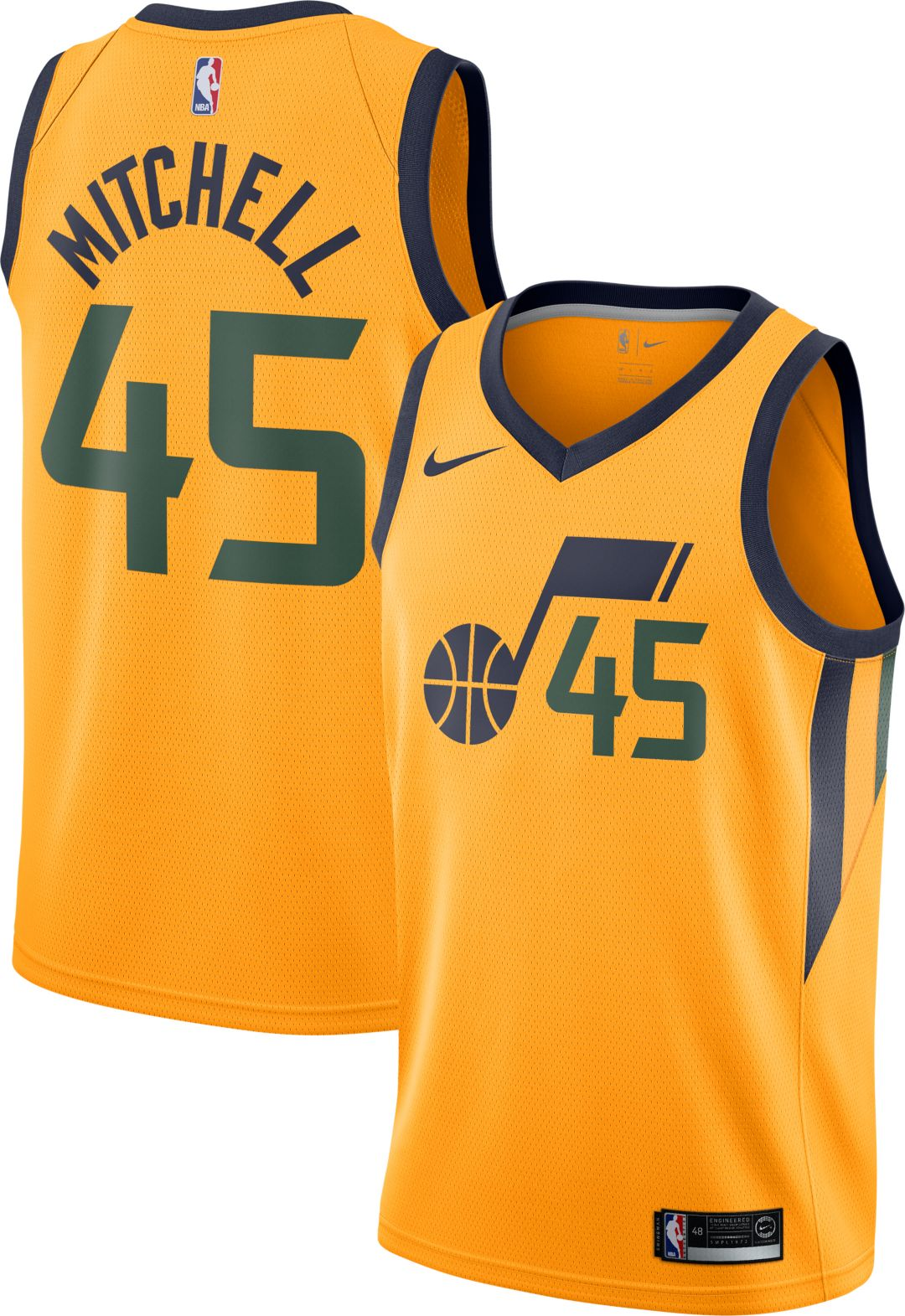 official photos 8414d 65fb1 Nike Men's Utah Jazz Donovan Mitchell #45 Gold Dri-FIT Swingman Jersey