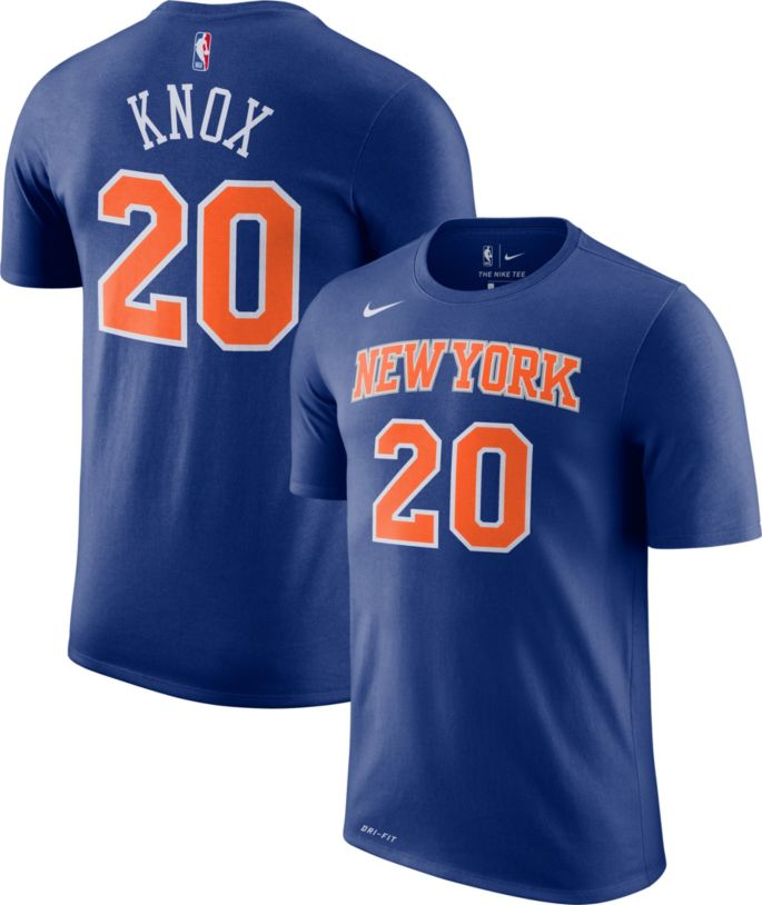 separation shoes 71271 6f8c9 Nike Men's New York Knicks Kevin Knox #20 Dri-FIT Blue T-Shirt