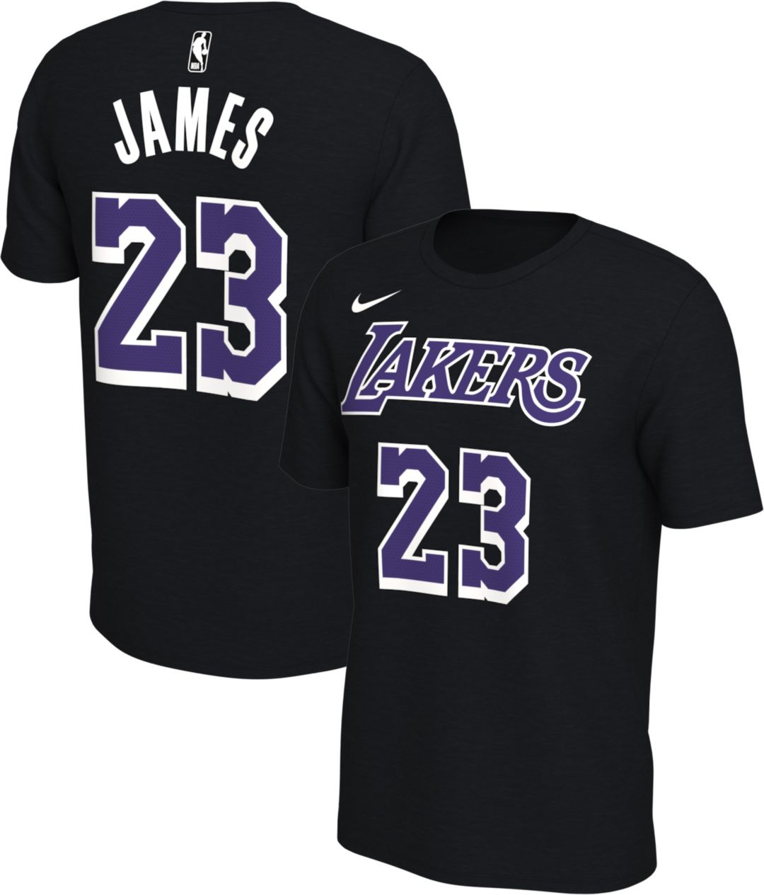 promo code 254d1 7a89c Nike Men's Los Angeles Lakers LeBron James #23 Dri-FIT Black T-Shirt
