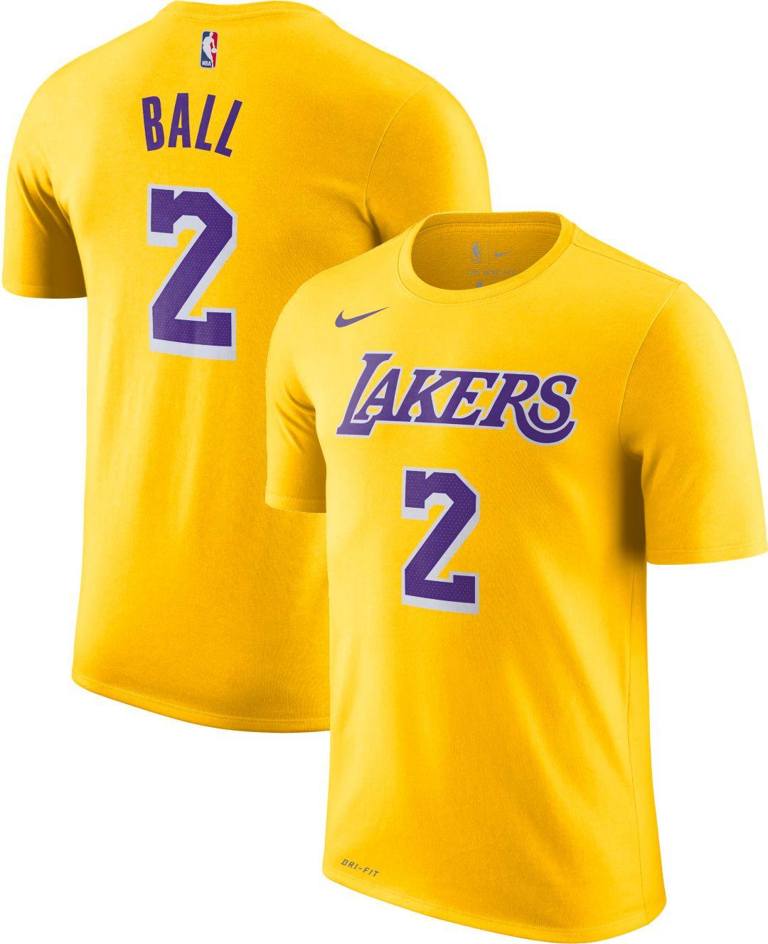 db6187731f1 Nike Men s Los Angeles Lakers Lonzo Ball  2 Dri-FIT Gold T-Shirt ...