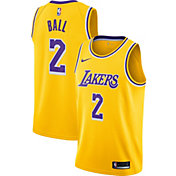 Nike Men's Los Angeles Lakers Lonzo Ball #2 Gold Dri-FIT Swingman Jersey