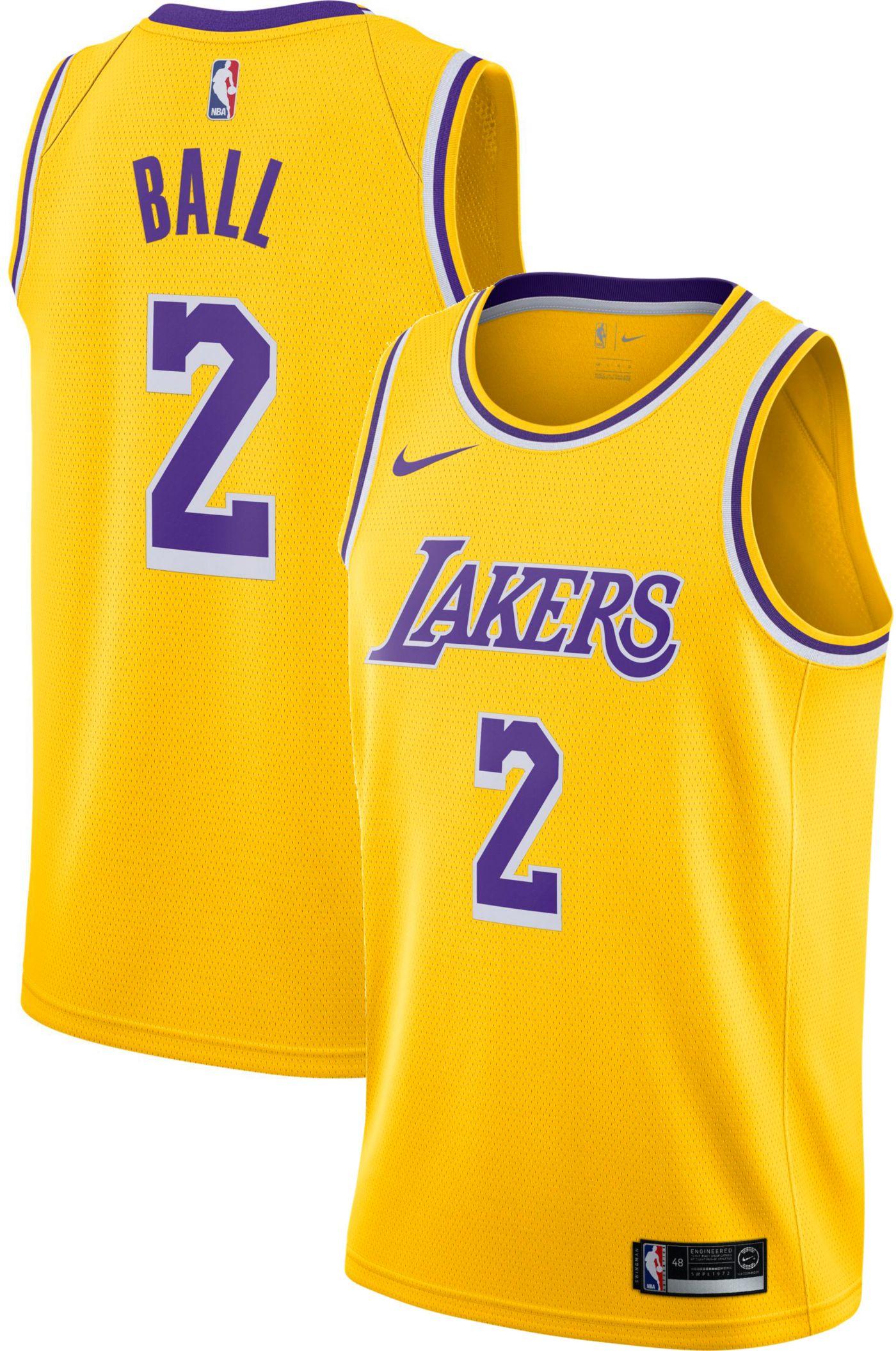 Nike Men's Los Angeles Lakers Lonzo Ball #2 Gold Dri-FIT Swingman Jersey