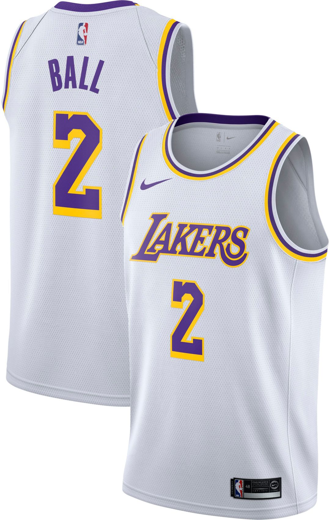 798ee65ec6e Nike Men's Los Angeles Lakers Lonzo Ball #2 White Dri-FIT Swingman Jersey 1