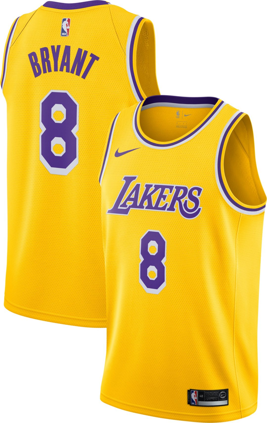 various colors e518f 66032 Nike Men's Los Angeles Lakers Kobe Bryant #8 Dri-FIT Gold Swingman Jersey