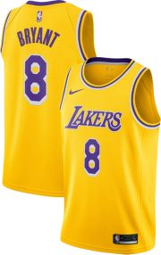 voittamaton x sävyt kenkäkauppa Nike Men's Los Angeles Lakers Kobe Bryant #8 Dri-FIT Gold Swingman Jersey