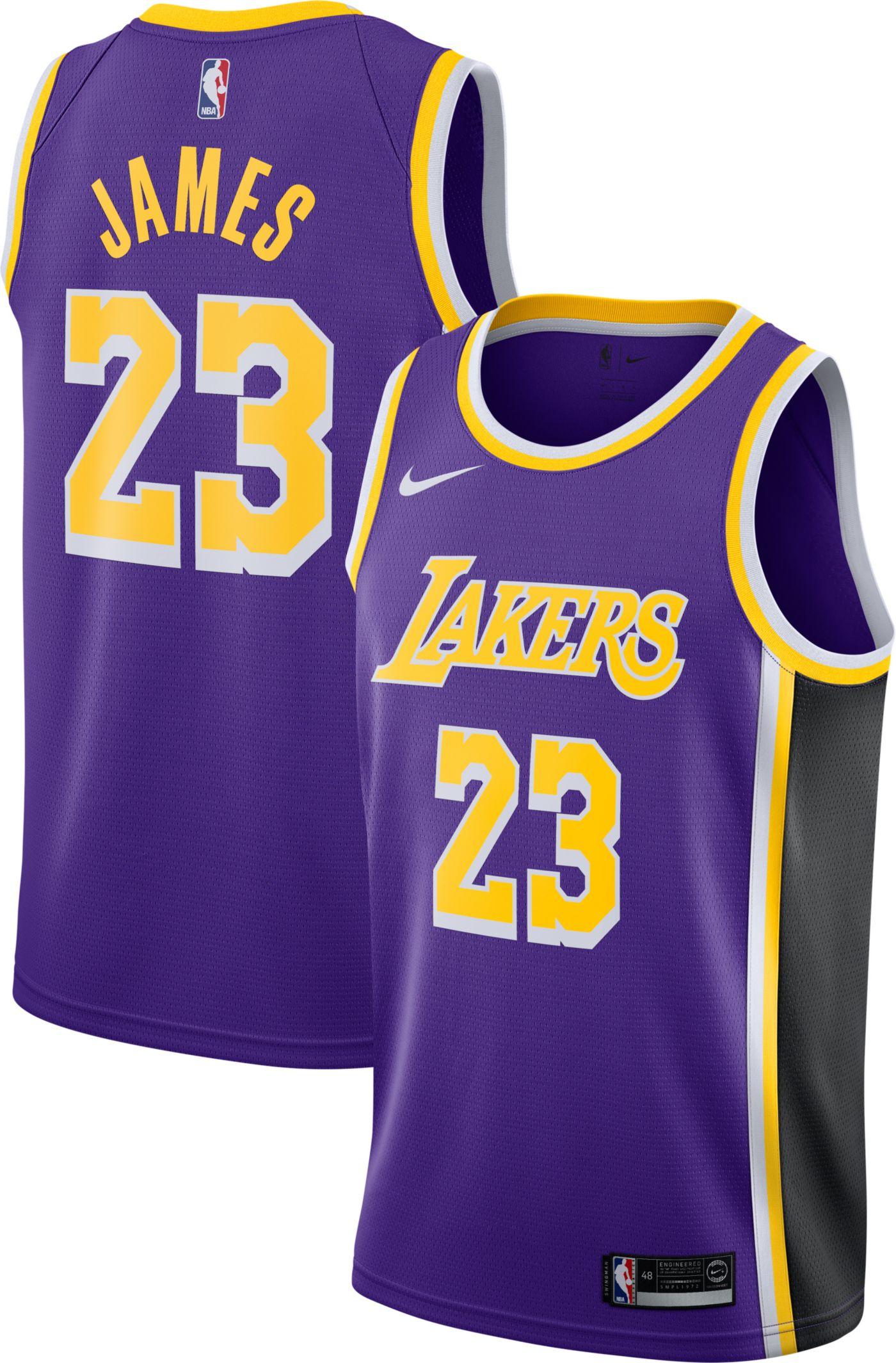 Nike Men's Los Angeles Lakers LeBron James #23 Purple Dri-FIT Statement Swingman Jersey