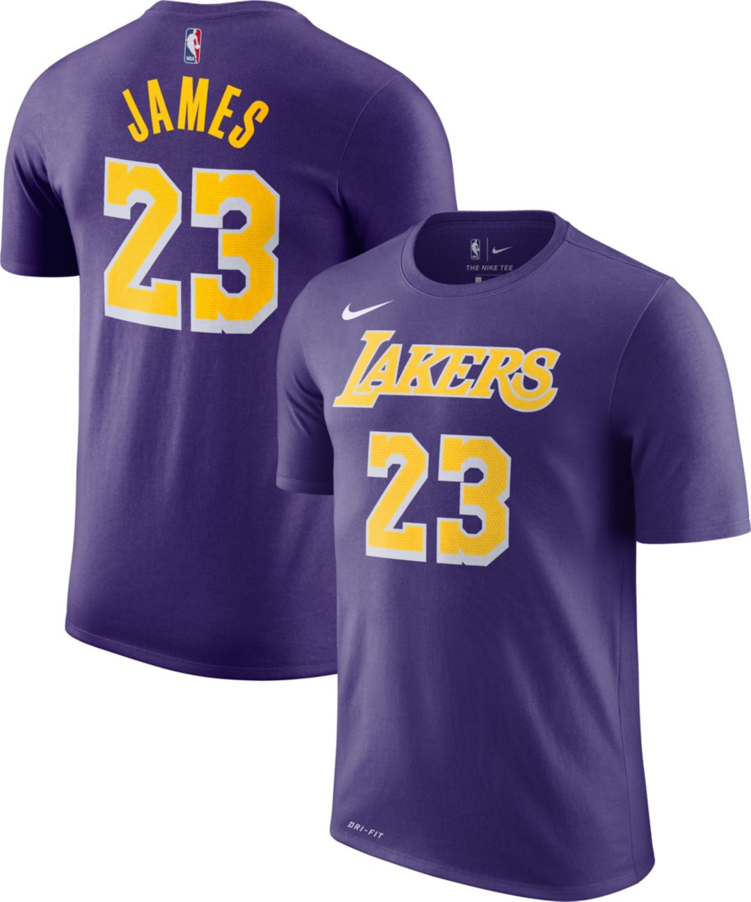 watch 9ad12 c8b56 Nike Men's Los Angeles Lakers LeBron James Dri-FIT Purple T-Shirt