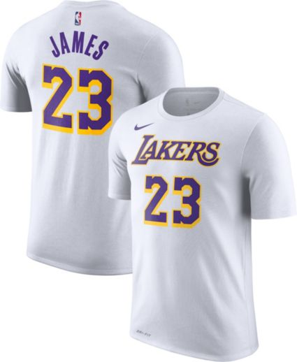 4e1d4ff3f Nike Men s Los Angeles Lakers LeBron James Dri-FIT White T-Shirt.  noImageFound