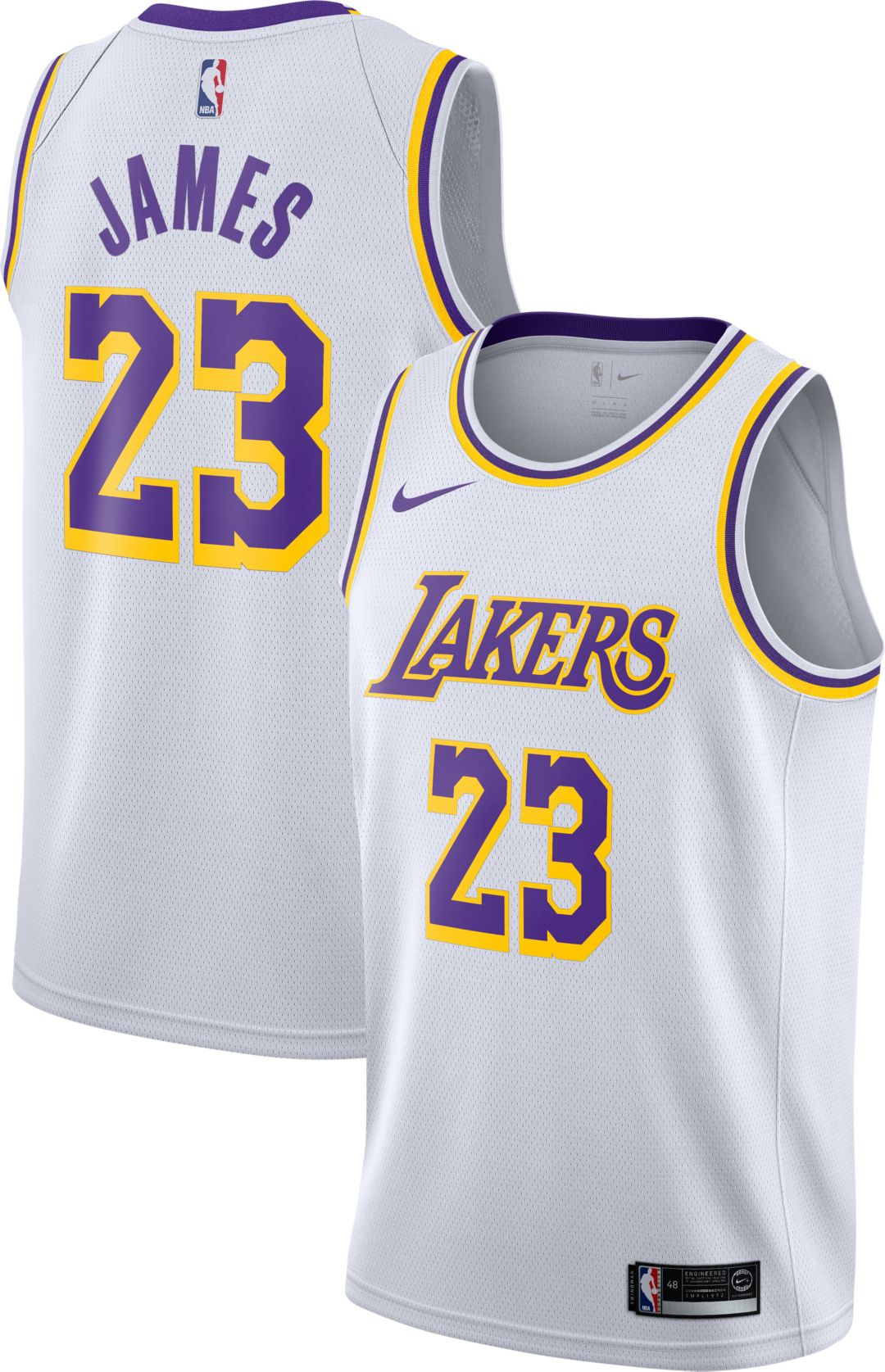 best authentic 227e2 9d5a5 Nike Men's Los Angeles Lakers LeBron James #23 White Dri-FIT Swingman Jersey