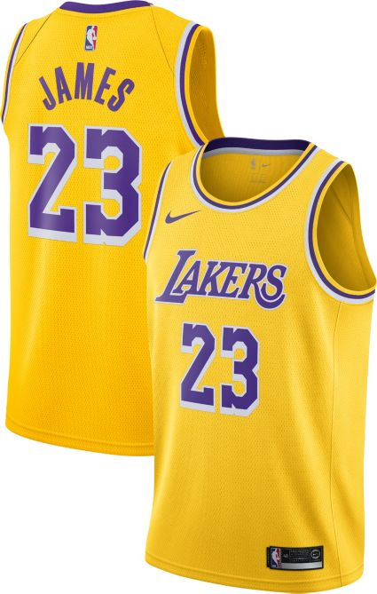 8f48ba317666 Nike Men s Los Angeles Lakers LeBron James  23 Dri-FIT Gold Swingman Jersey.  noImageFound