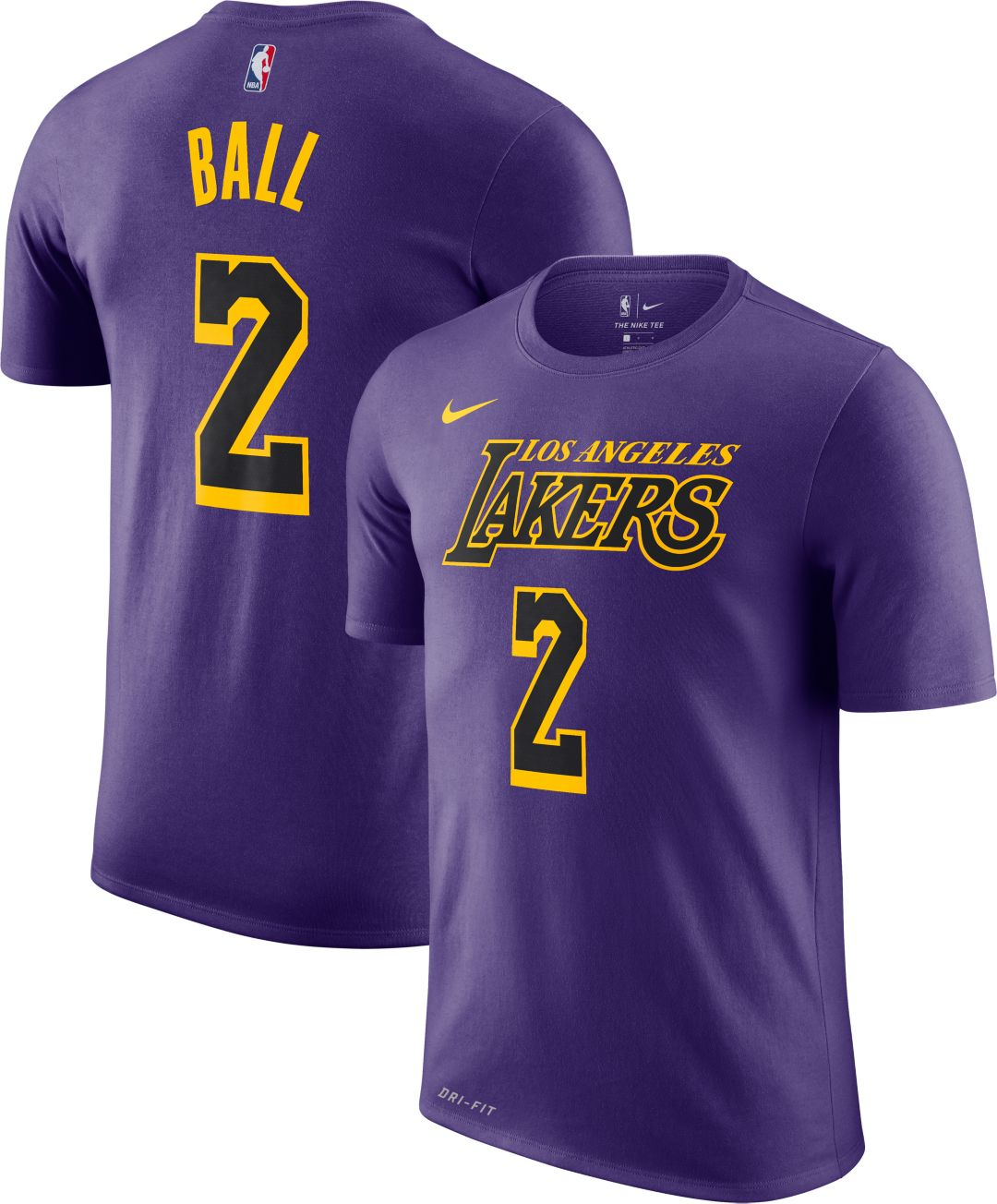 sports shoes 2f812 58088 Nike Men's Los Angeles Lakers Lonzo Ball Dri-FIT City Edition T-Shirt