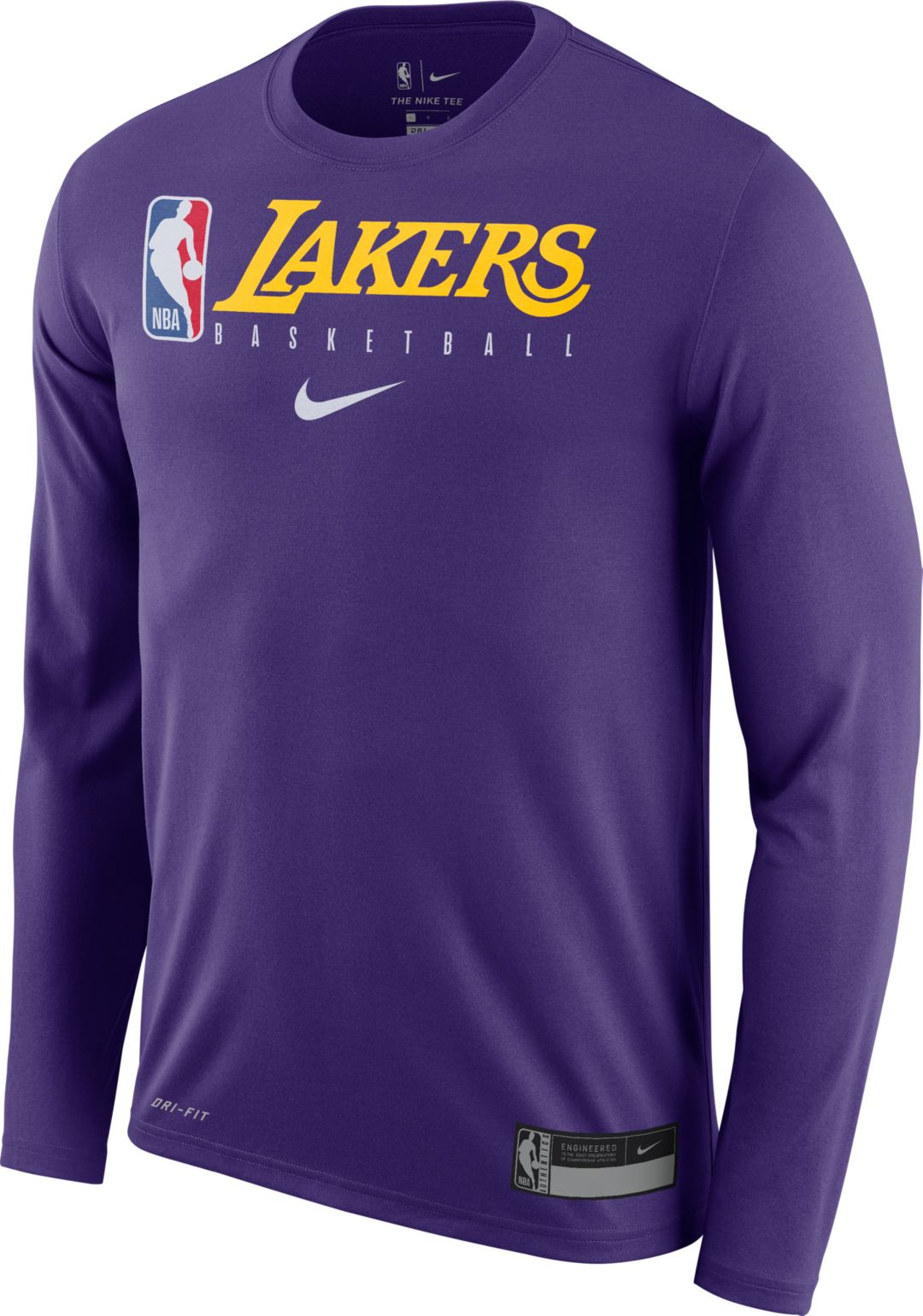 the latest e54a4 29729 Nike Men's Los Angeles Lakers Dri-FIT Practice Long Sleeve Shirt