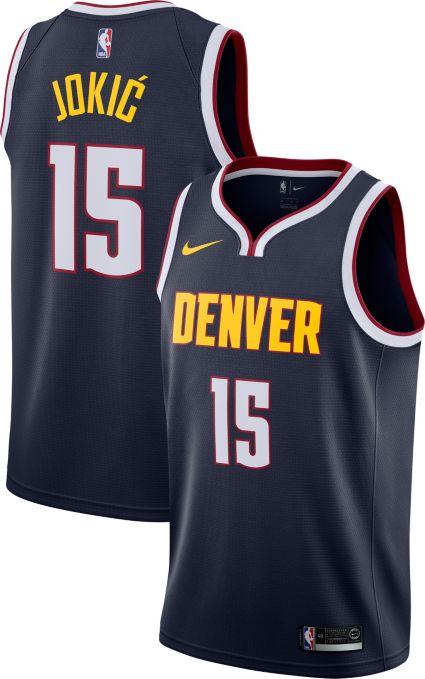 f55b4a8673ac Nike Men s Denver Nuggets Nikola Jokic  15 Navy Dri-FIT Swingman Jersey.  noImageFound