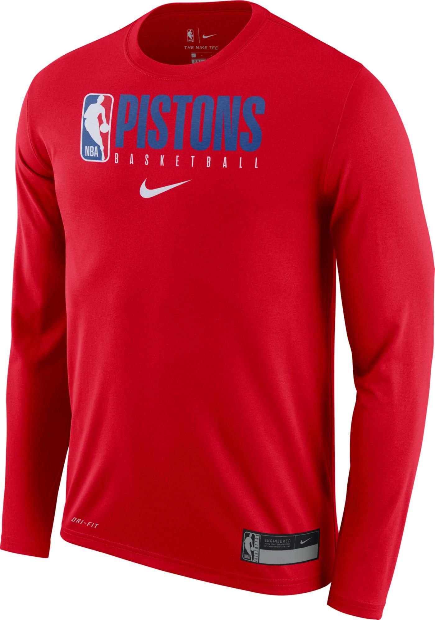 Nike Men's Detroit Pistons Dri-FIT Practice Long Sleeve Shirt