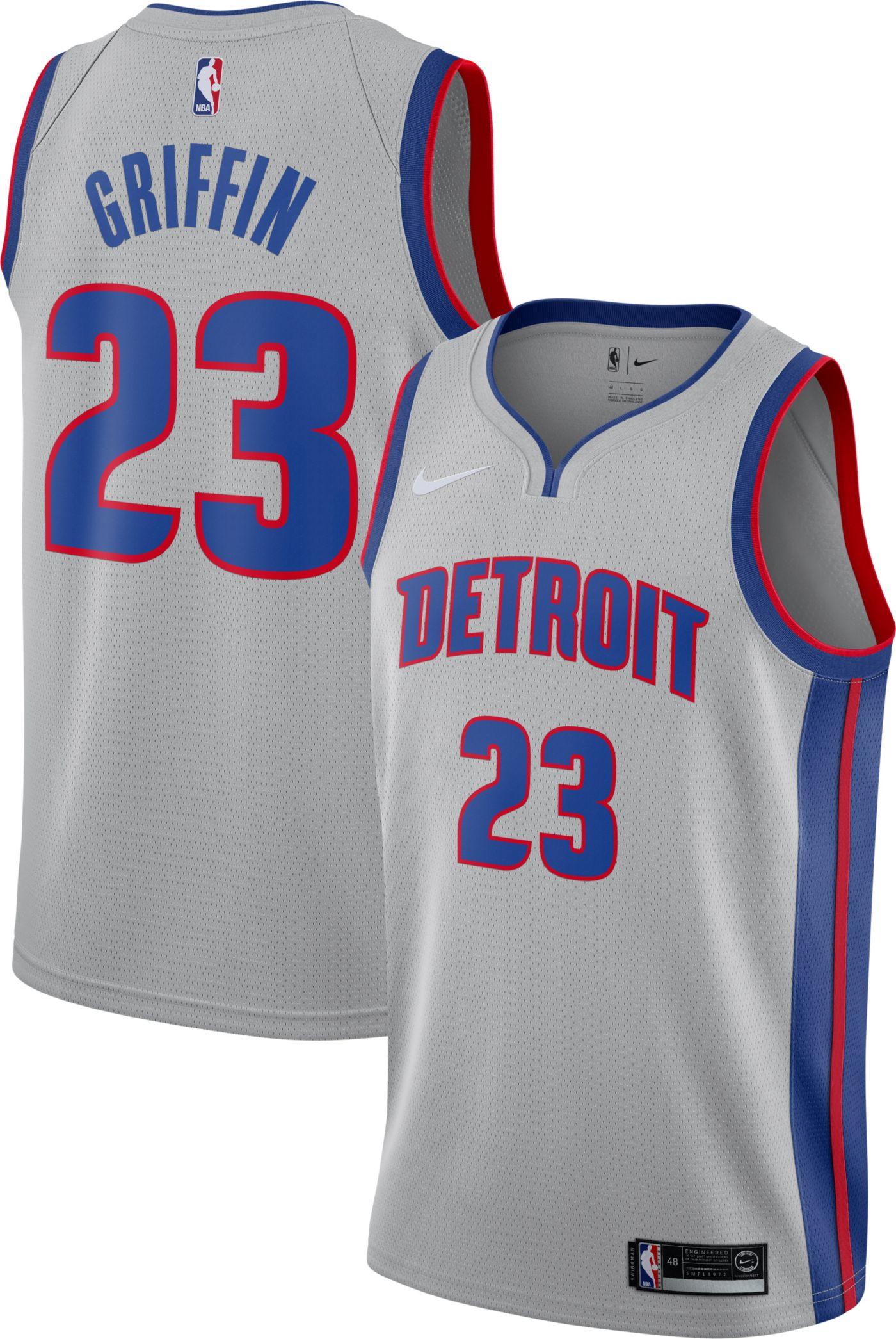 Nike Men's Detroit Pistons Blake Griffin #23 Grey Dri-FIT Statement Swingman Jersey