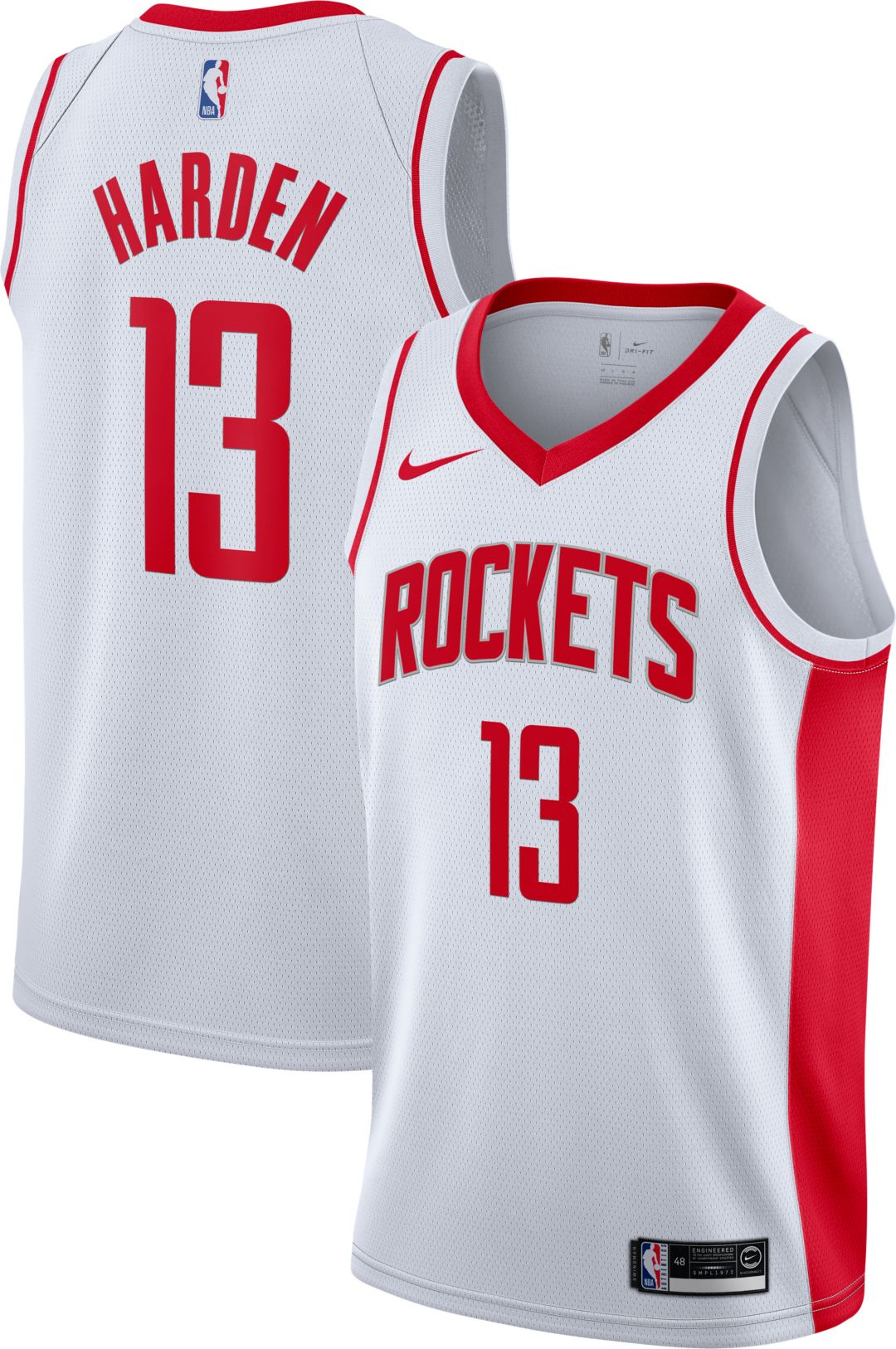 huge selection of 2259c fe32c Nike Men's Houston Rockets James Harden #13 White Dri-FIT Swingman Jersey