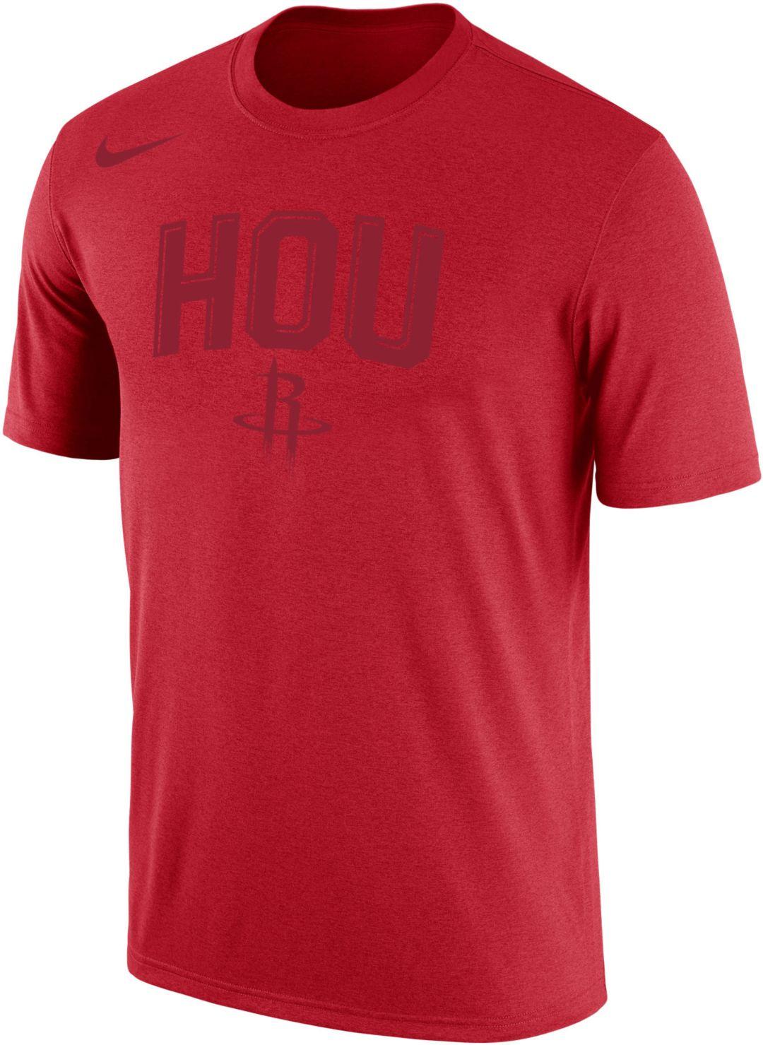 "the latest 125b5 c3bc6 Nike Men's Houston Rockets Dri-FIT ""HOU"" Red Shooting Shirt T-Shirt"