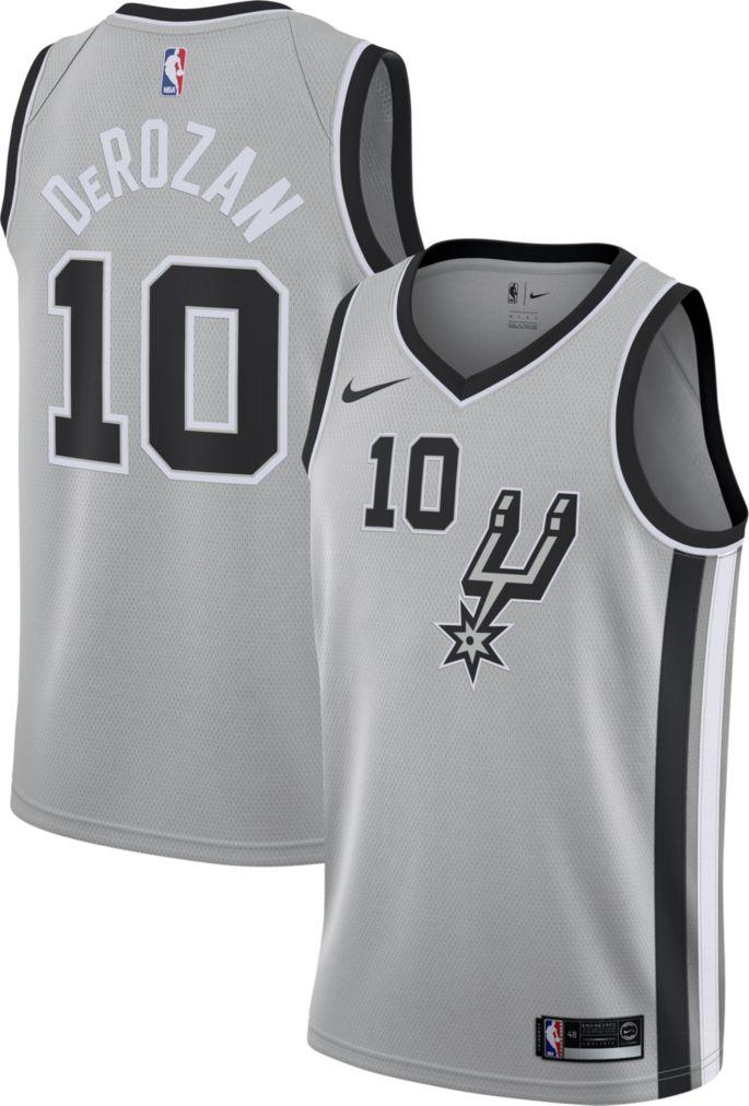 best authentic d5af6 c505e Nike Men's San Antonio Spurs DeMar DeRozan #10 Grey Dri-FIT Swingman Jersey