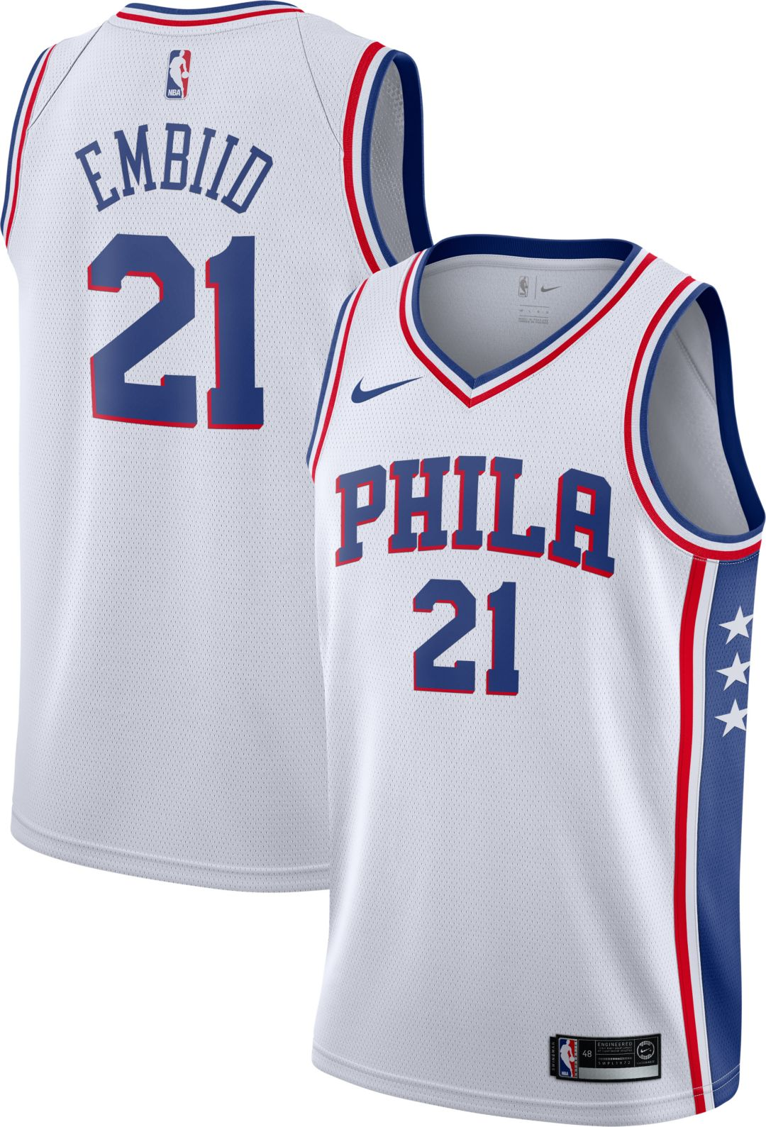 outlet store 3258d 80417 Nike Men's Philadelphia 76ers Joel Embiid #21 White Dri-FIT Swingman Jersey