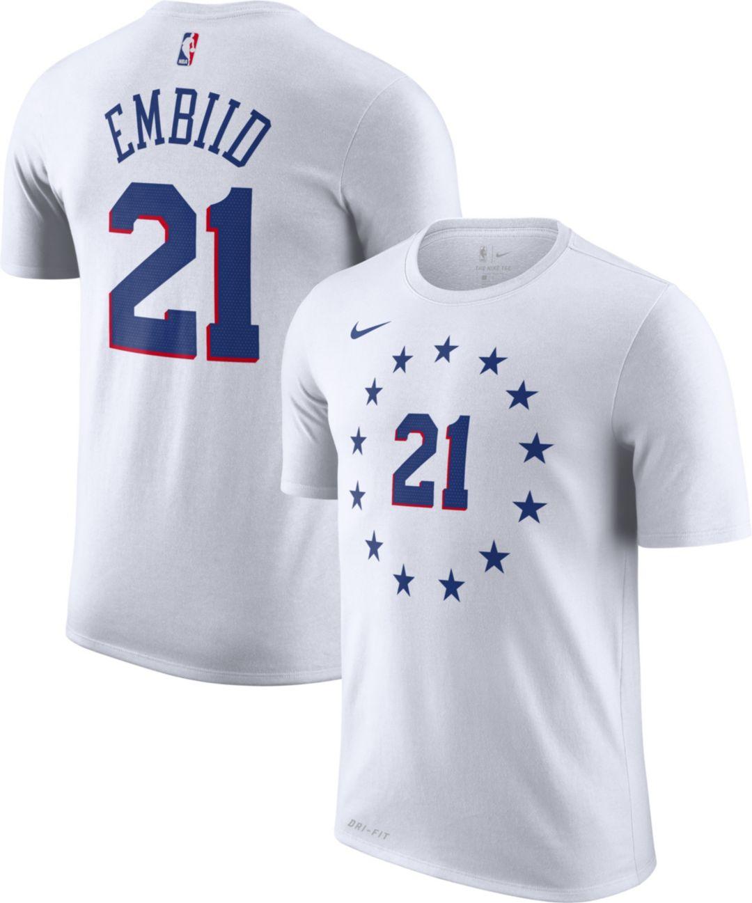 new concept 4e7bc 1785e Nike Men's Philadelphia 76ers Joel Embiid Dri-FIT Earned Edition T-Shirt