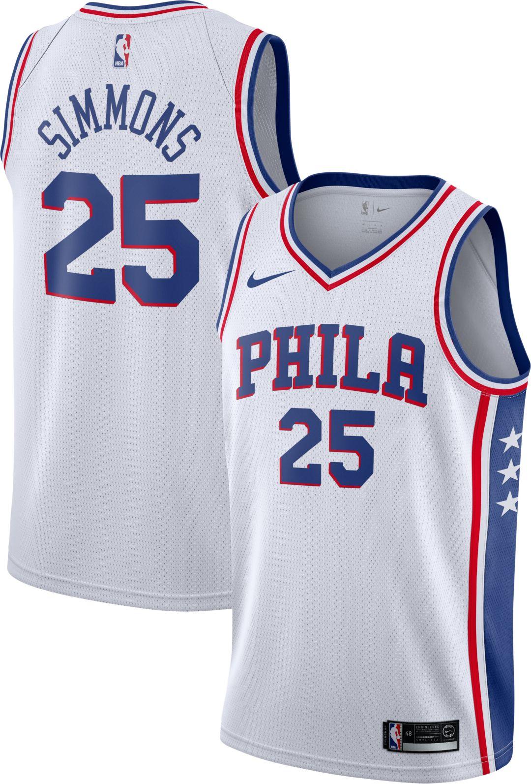 quality design e59e9 fd056 Nike Men's Philadelphia 76ers Ben Simmons #25 White Dri-FIT Swingman Jersey