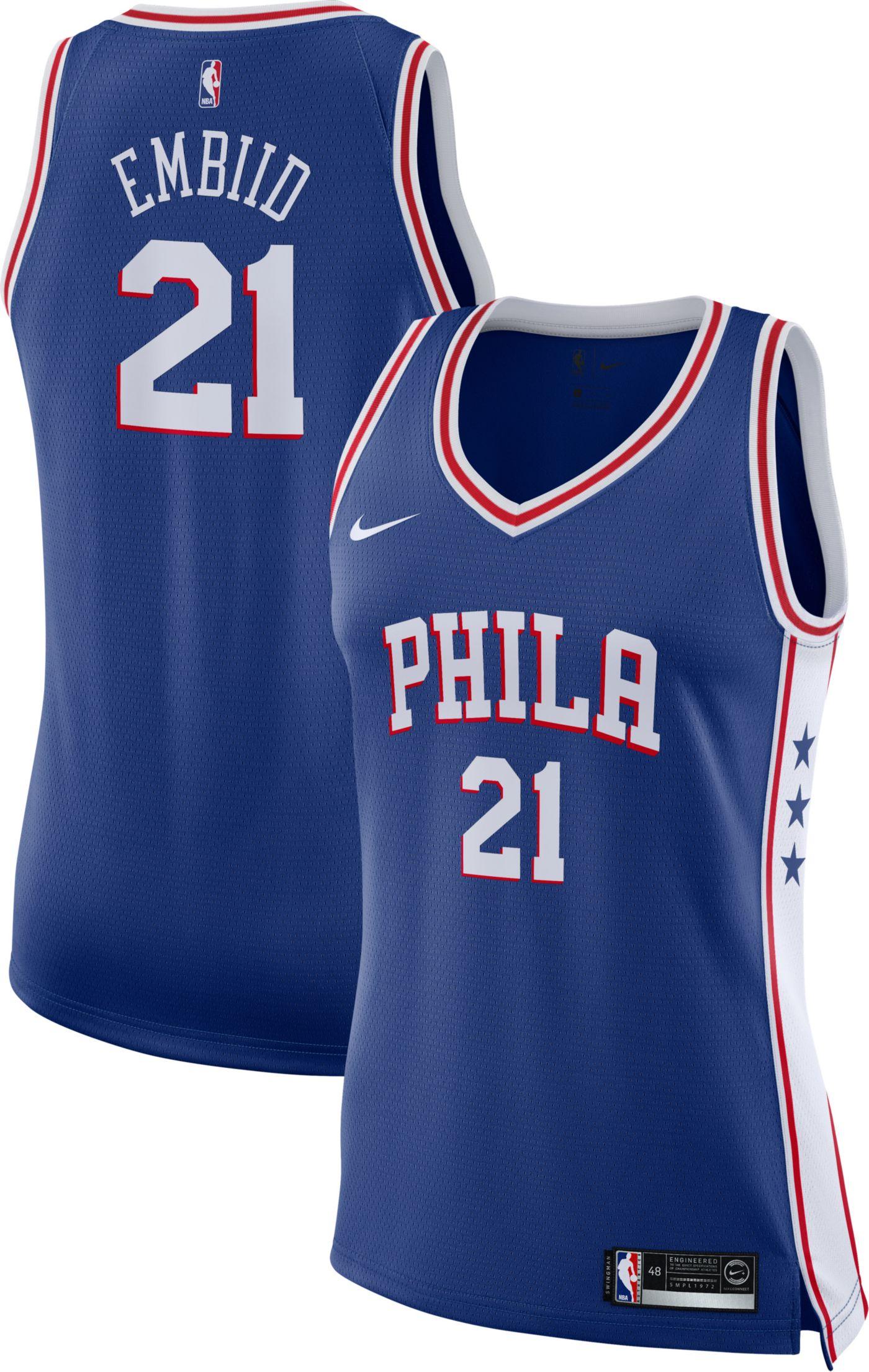 Nike Women's Philadelphia 76ers Joel Embiid #21 Royal Dri-FIT Swingman Jersey