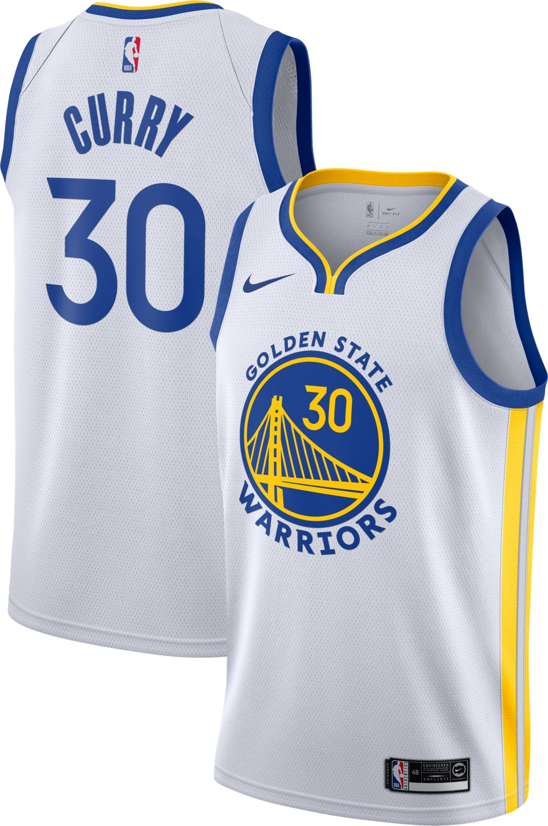 huge discount 4bd3e f15b7 Nike Men's Golden State Warriors Stephen Curry #30 White Dri-FIT Swingman  Jersey